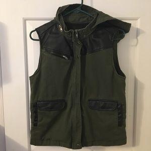 BDG hooded pleather vest